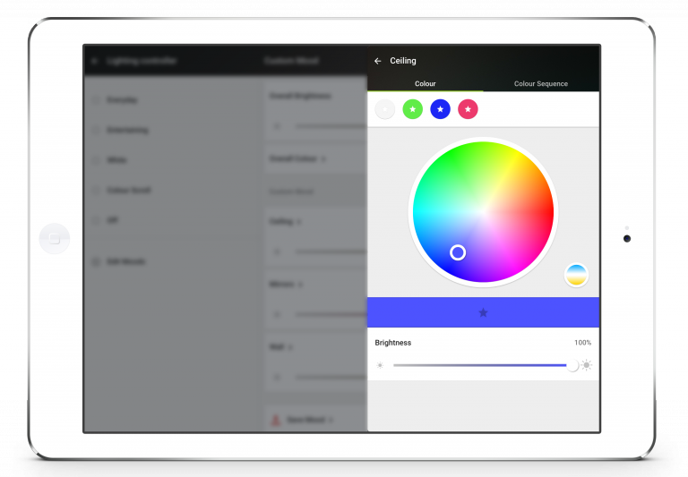 Loxone Smart Home App - Tablet - Lighting - Colour Picker