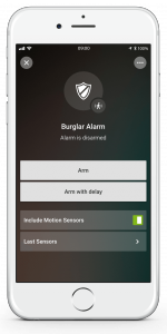 Loxone Smart Home App - Burglar Alarm - Disarmed
