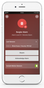 Loxone Smart Home App - Burglar Alarm - Triggered
